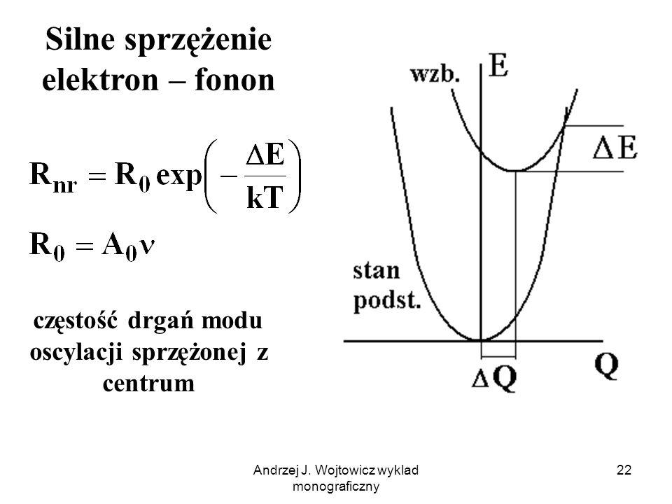Andrzej J. Wojtowicz wyklad monograficzny 22 Silne sprzężenie elektron – fonon częstość drgań modu oscylacji sprzężonej z centrum