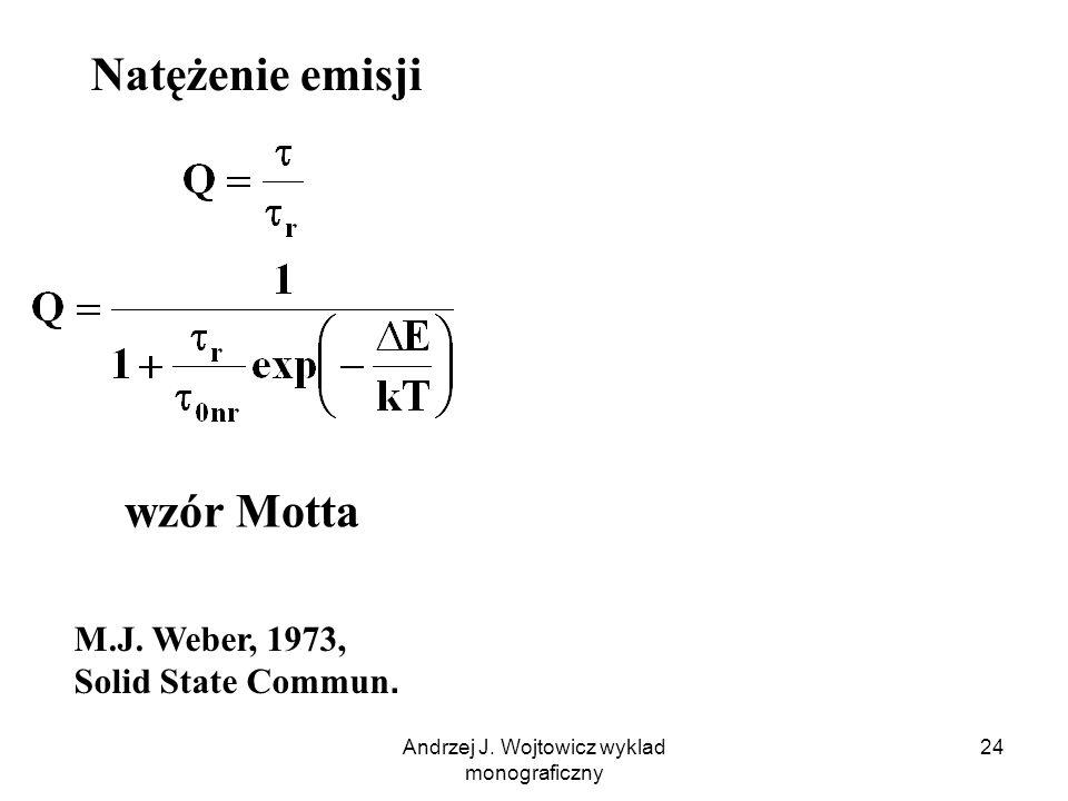 Andrzej J. Wojtowicz wyklad monograficzny 24 M.J. Weber, 1973, Solid State Commun. wzór Motta Natężenie emisji