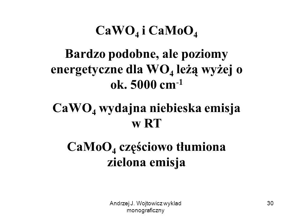Andrzej J. Wojtowicz wyklad monograficzny 30 CaWO 4 i CaMoO 4 Bardzo podobne, ale poziomy energetyczne dla WO 4 leżą wyżej o ok. 5000 cm -1 CaWO 4 wyd