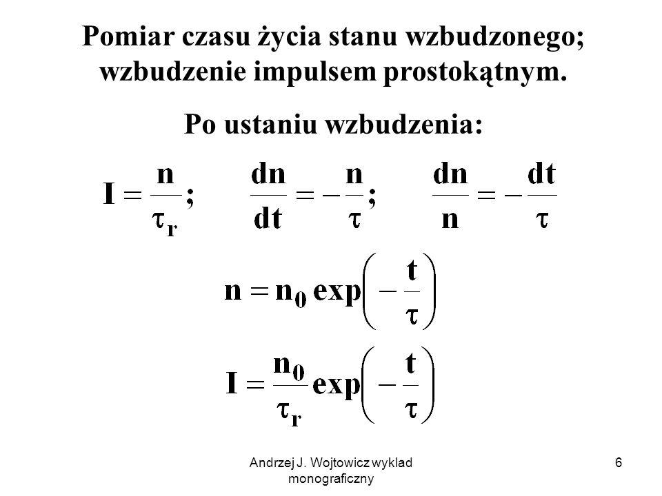 Andrzej J. Wojtowicz wyklad monograficzny 6 Pomiar czasu życia stanu wzbudzonego; wzbudzenie impulsem prostokątnym. Po ustaniu wzbudzenia: