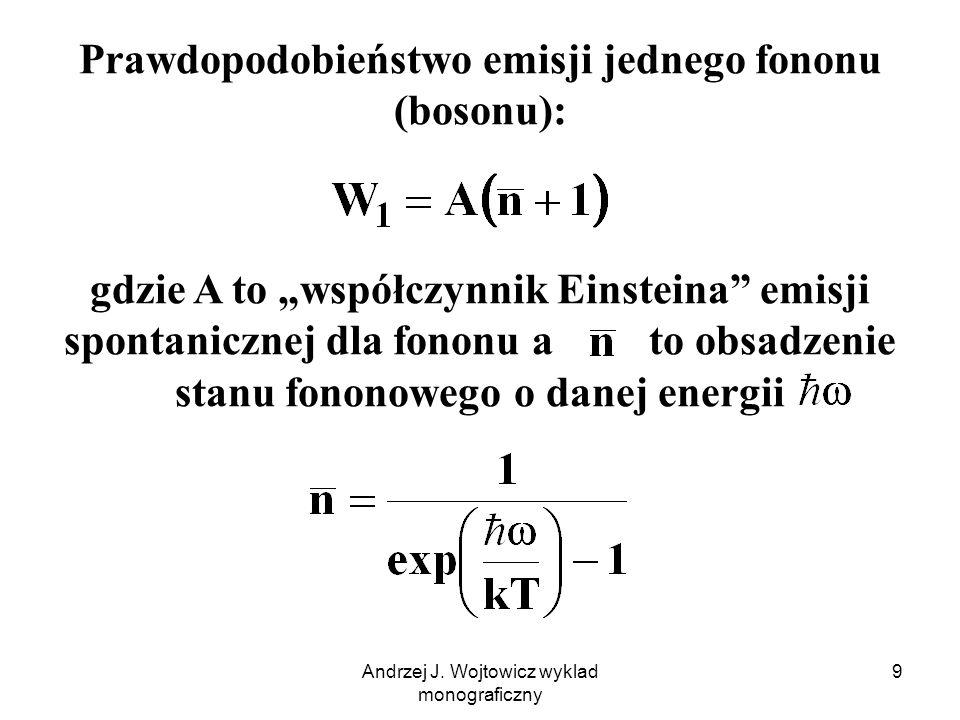 Andrzej J. Wojtowicz wyklad monograficzny 9 Prawdopodobieństwo emisji jednego fononu (bosonu): gdzie A to współczynnik Einsteina emisji spontanicznej
