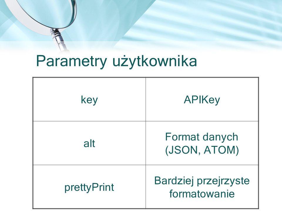 Parametry użytkownika keyAPIKey alt Format danych (JSON, ATOM) prettyPrint Bardziej przejrzyste formatowanie