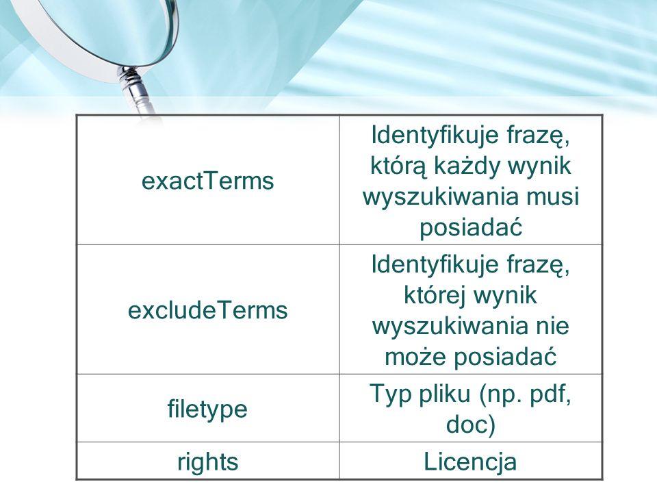 exactTerms Identyfikuje frazę, którą każdy wynik wyszukiwania musi posiadać excludeTerms Identyfikuje frazę, której wynik wyszukiwania nie może posiad