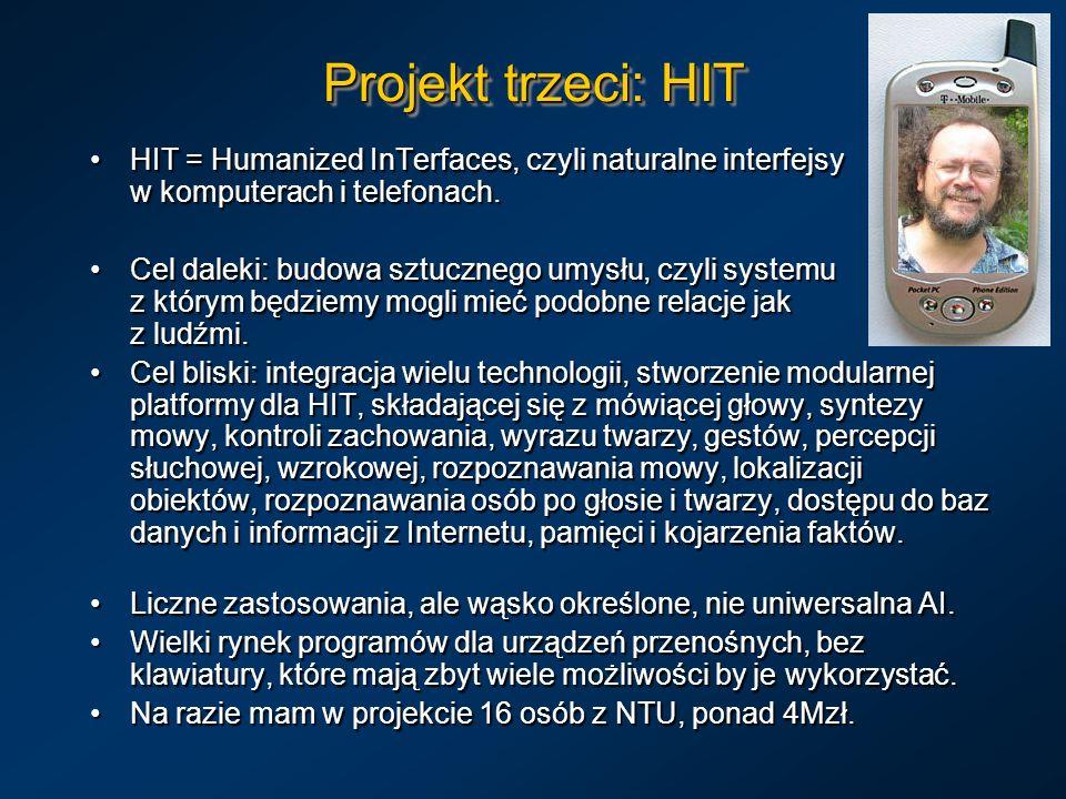 Projekt trzeci: HIT HIT = Humanized InTerfaces, czyli naturalne interfejsy w komputerach i telefonach.HIT = Humanized InTerfaces, czyli naturalne inte