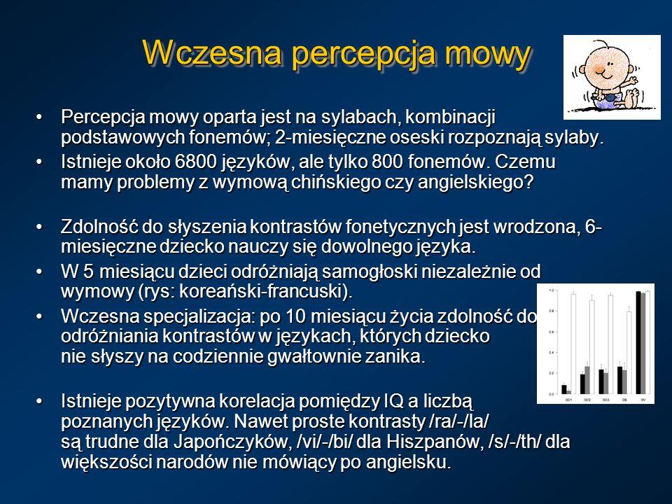 Wczesna percepcja mowy Percepcja mowy oparta jest na sylabach, kombinacji podstawowych fonemów; 2-miesięczne oseski rozpoznają sylaby.Percepcja mowy o