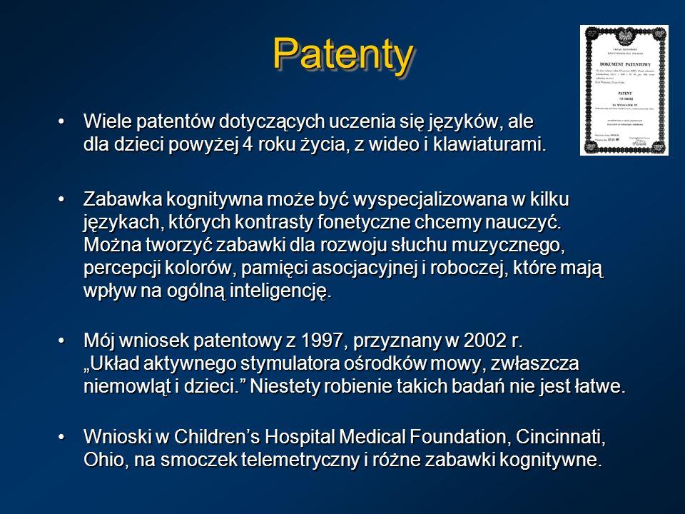 PatentyPatenty Wiele patentów dotyczących uczenia się języków, ale dla dzieci powyżej 4 roku życia, z wideo i klawiaturami.Wiele patentów dotyczących