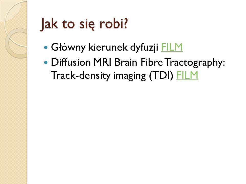 Jak to się robi? Główny kierunek dyfuzji FILMFILM Diffusion MRI Brain Fibre Tractography: Track-density imaging (TDI) FILMFILM