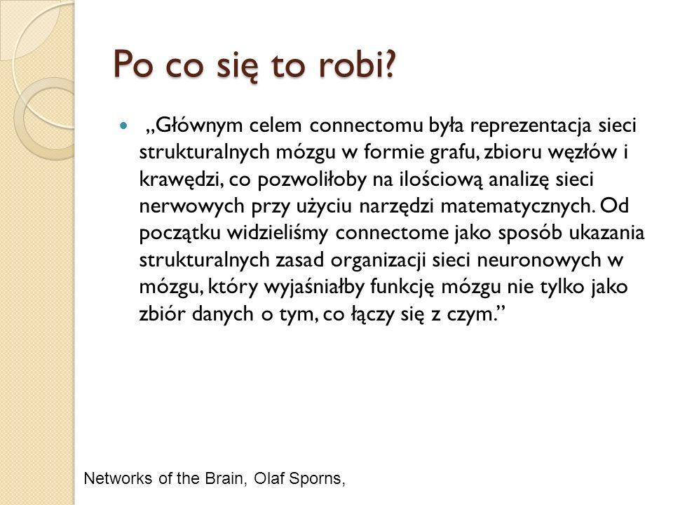 Po co się to robi? Głównym celem connectomu była reprezentacja sieci strukturalnych mózgu w formie grafu, zbioru węzłów i krawędzi, co pozwoliłoby na