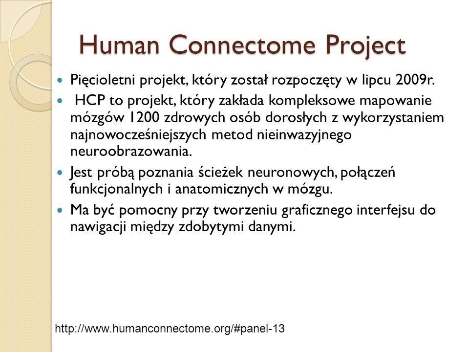 Human Connectome Project Pięcioletni projekt, który został rozpoczęty w lipcu 2009r. HCP to projekt, który zakłada kompleksowe mapowanie mózgów 1200 z