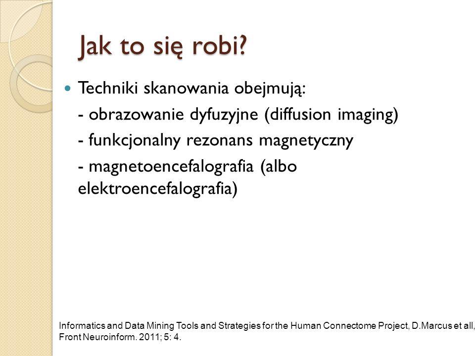 Jak to się robi? Techniki skanowania obejmują: - obrazowanie dyfuzyjne (diffusion imaging) - funkcjonalny rezonans magnetyczny - magnetoencefalografia