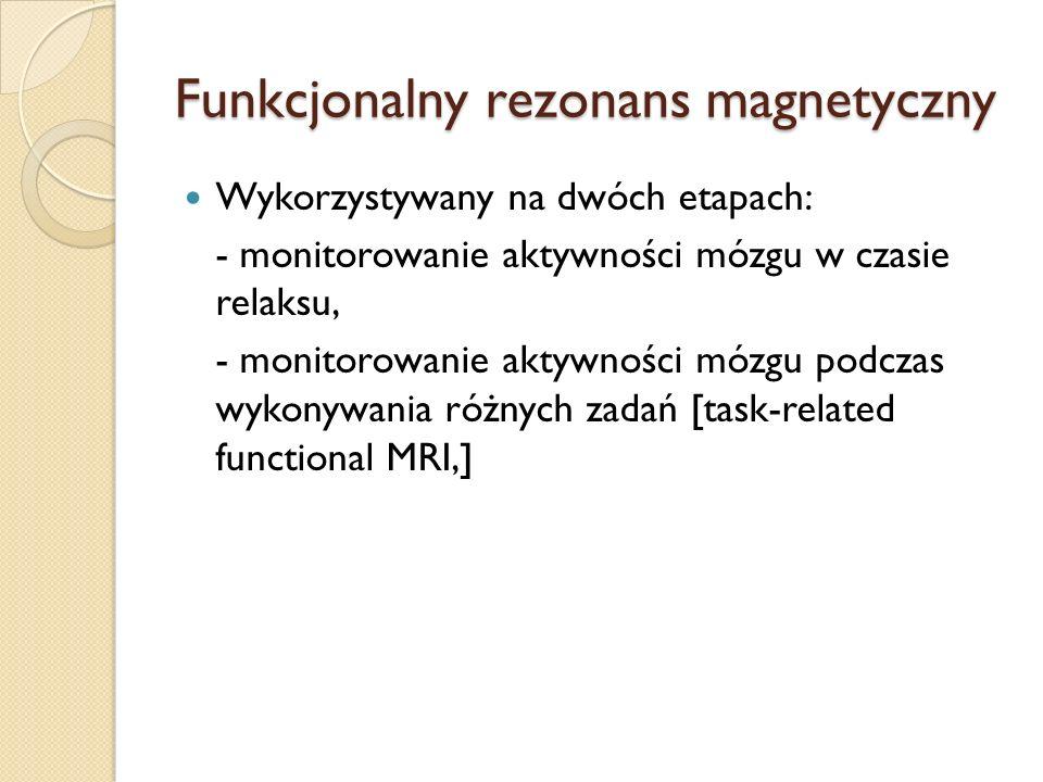Funkcjonalny rezonans magnetyczny Wykorzystywany na dwóch etapach: - monitorowanie aktywności mózgu w czasie relaksu, - monitorowanie aktywności mózgu