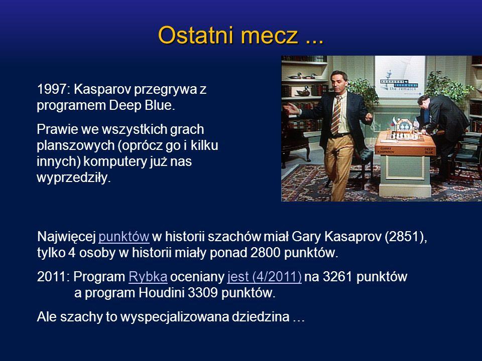 Ostatni mecz... 1997: Kasparov przegrywa z programem Deep Blue. Prawie we wszystkich grach planszowych (oprócz go i kilku innych) komputery już nas wy