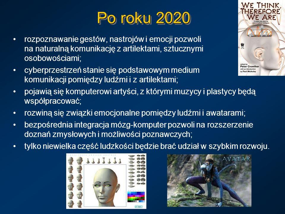 Po roku 2020 rozpoznawanie gestów, nastrojów i emocji pozwoli na naturalną komunikację z artilektami, sztucznymi osobowościami; cyberprzestrzeń stanie