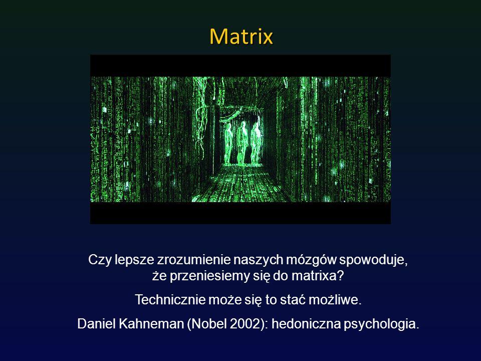 Matrix Czy lepsze zrozumienie naszych mózgów spowoduje, że przeniesiemy się do matrixa? Technicznie może się to stać możliwe. Daniel Kahneman (Nobel 2