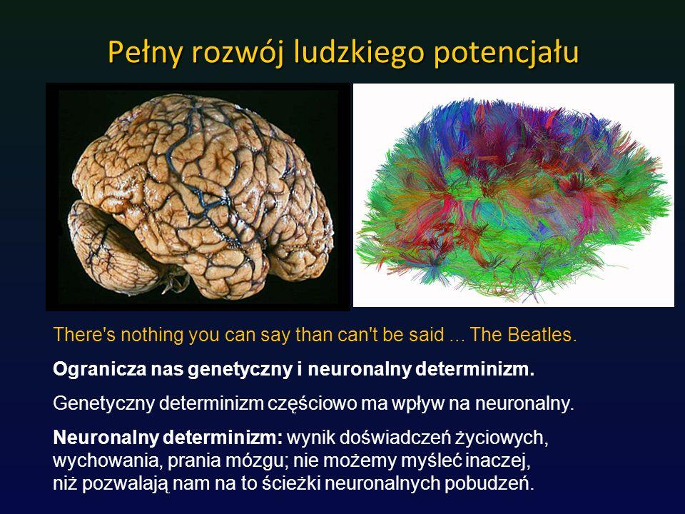 Pełny rozwój ludzkiego potencjału There's nothing you can say than can't be said... The Beatles. Ogranicza nas genetyczny i neuronalny determinizm. Ge