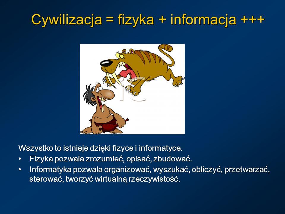 Cywilizacja = fizyka + informacja +++ Wszystko to istnieje dzięki fizyce i informatyce. Fizyka pozwala zrozumieć, opisać, zbudować. Fizyka pozwala zro