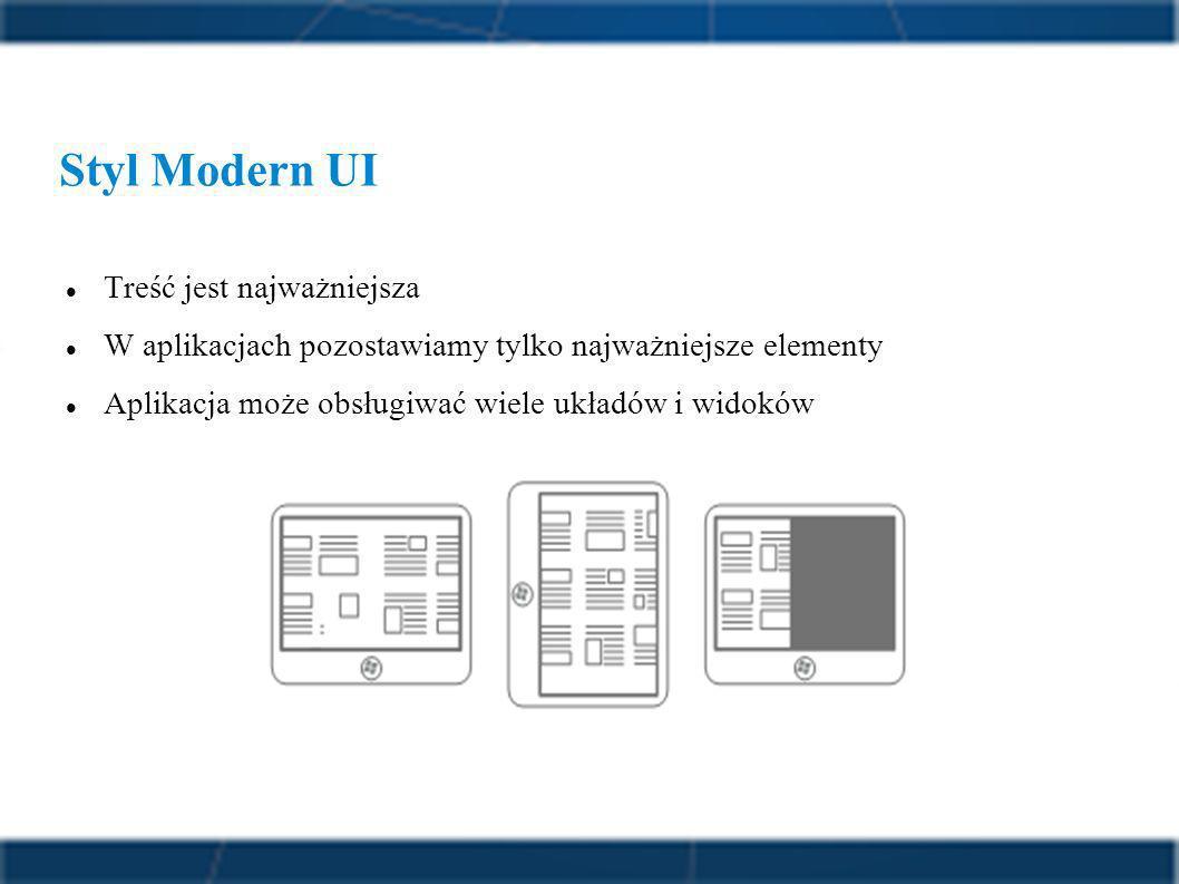 Styl Modern UI Treść jest najważniejsza W aplikacjach pozostawiamy tylko najważniejsze elementy Aplikacja może obsługiwać wiele układów i widoków