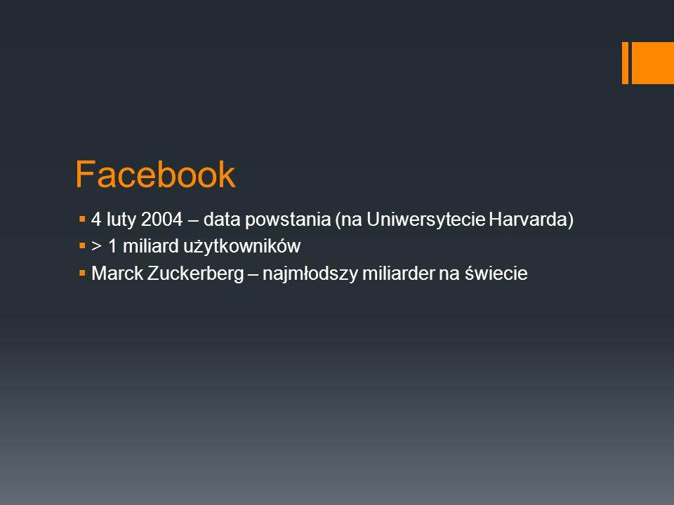 Facebook 4 luty 2004 – data powstania (na Uniwersytecie Harvarda) > 1 miliard użytkowników Marck Zuckerberg – najmłodszy miliarder na świecie