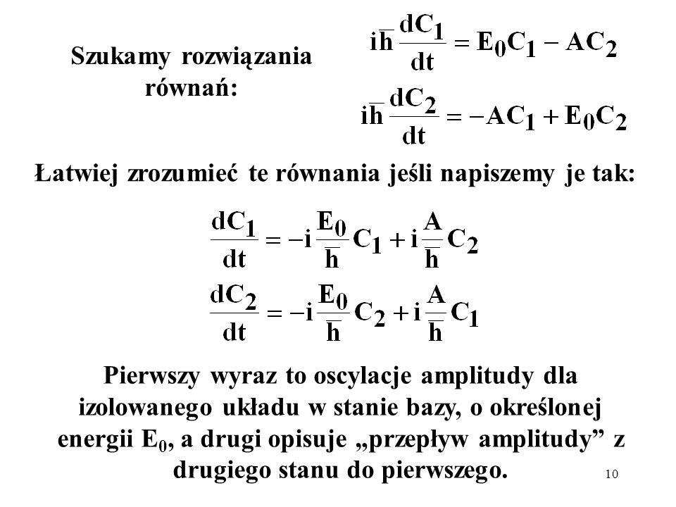 10 Szukamy rozwiązania równań: Łatwiej zrozumieć te równania jeśli napiszemy je tak: Pierwszy wyraz to oscylacje amplitudy dla izolowanego układu w st
