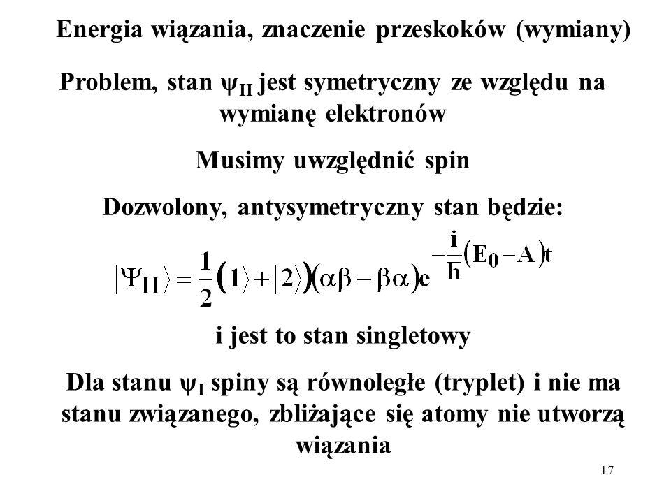 17 Energia wiązania, znaczenie przeskoków (wymiany) Problem, stan ψ II jest symetryczny ze względu na wymianę elektronów Musimy uwzględnić spin Dozwol