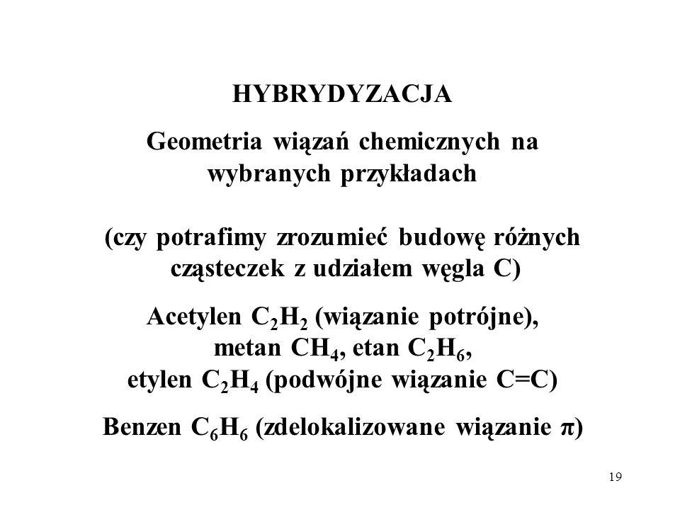 19 HYBRYDYZACJA Geometria wiązań chemicznych na wybranych przykładach (czy potrafimy zrozumieć budowę różnych cząsteczek z udziałem węgla C) Acetylen