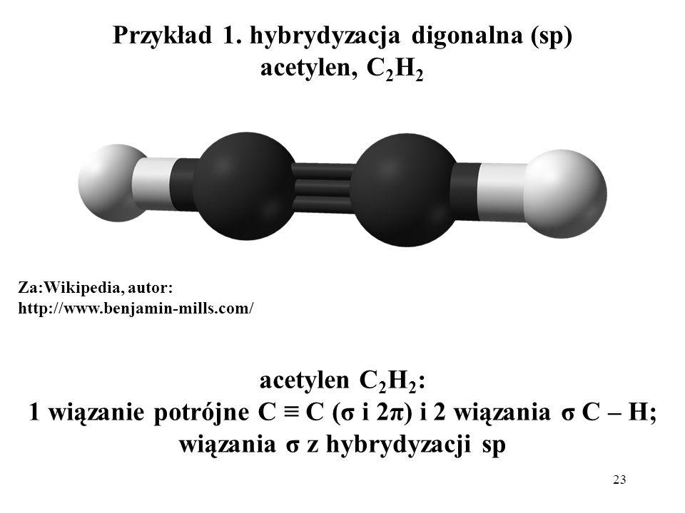 23 Przykład 1. hybrydyzacja digonalna (sp) acetylen, C 2 H 2 Za:Wikipedia, autor: http://www.benjamin-mills.com/ acetylen C 2 H 2 : 1 wiązanie potrójn