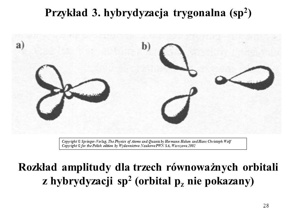 28 Przykład 3. hybrydyzacja trygonalna (sp 2 ) Rozkład amplitudy dla trzech równoważnych orbitali z hybrydyzacji sp 2 (orbital p z nie pokazany) Copyr