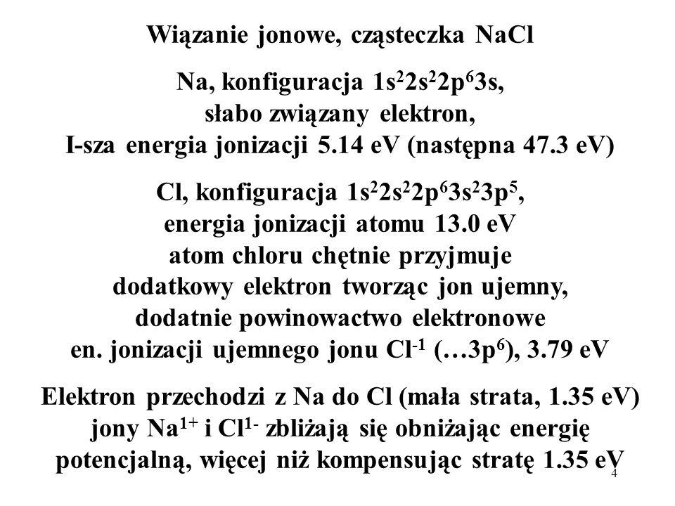 4 Wiązanie jonowe, cząsteczka NaCl Na, konfiguracja 1s 2 2s 2 2p 6 3s, słabo związany elektron, I-sza energia jonizacji 5.14 eV (następna 47.3 eV) Cl,