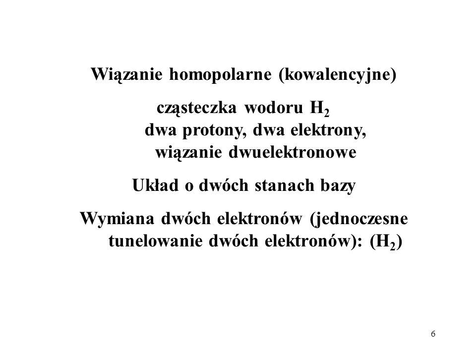 6 Wiązanie homopolarne (kowalencyjne) cząsteczka wodoru H 2 dwa protony, dwa elektrony, wiązanie dwuelektronowe Układ o dwóch stanach bazy Wymiana dwó