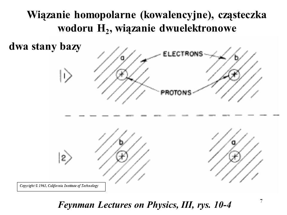 7 Wiązanie homopolarne (kowalencyjne), cząsteczka wodoru H 2, wiązanie dwuelektronowe Feynman Lectures on Physics, III, rys. 10-4 dwa stany bazy Copyr