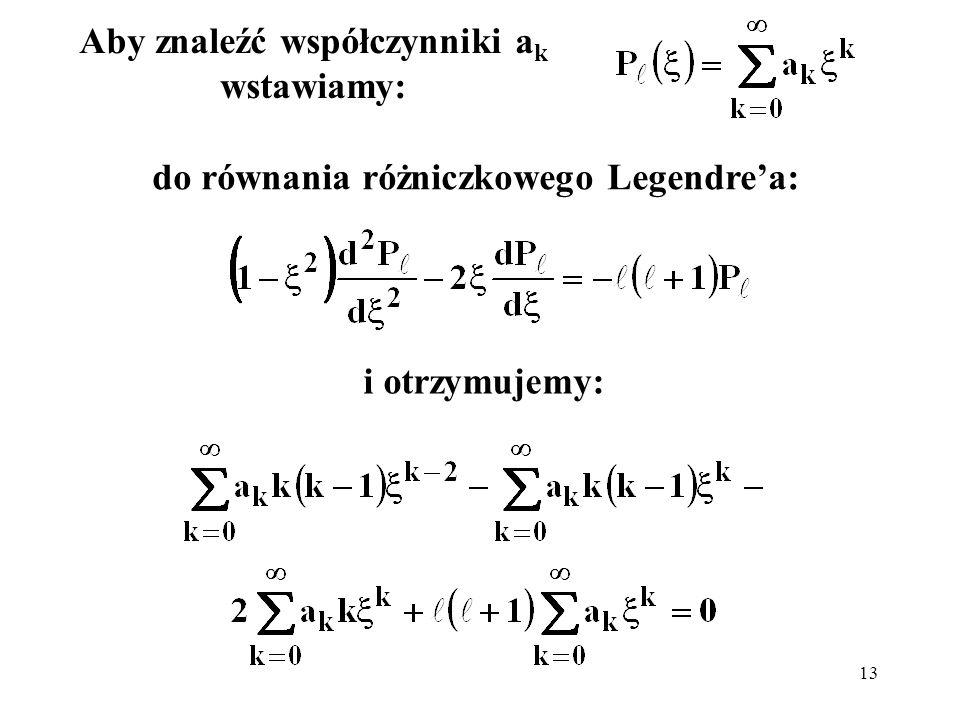 14 Pomijamy dwa pierwsze wyrazy w pierwszej sumie i przenumerowujemy ją, zastępując k przez k+2: Wszystkie współczynniki przy kolejnych potęgach muszą być równe 0, zatem: