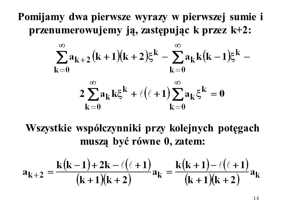 15 Nieskończona suma dla ξ równego 1 dałaby nieskończoną wartość.