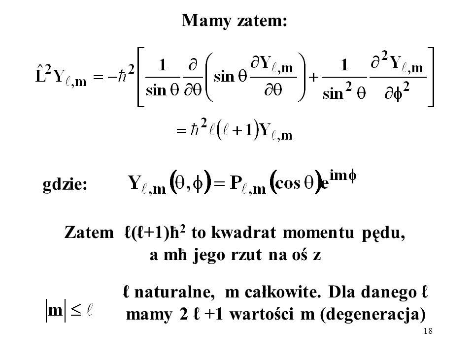 19 Funkcje kuliste (harmoniki sferyczne): funkcje s ( = 0) brak zależności od kątów θ i φ, stała wartość