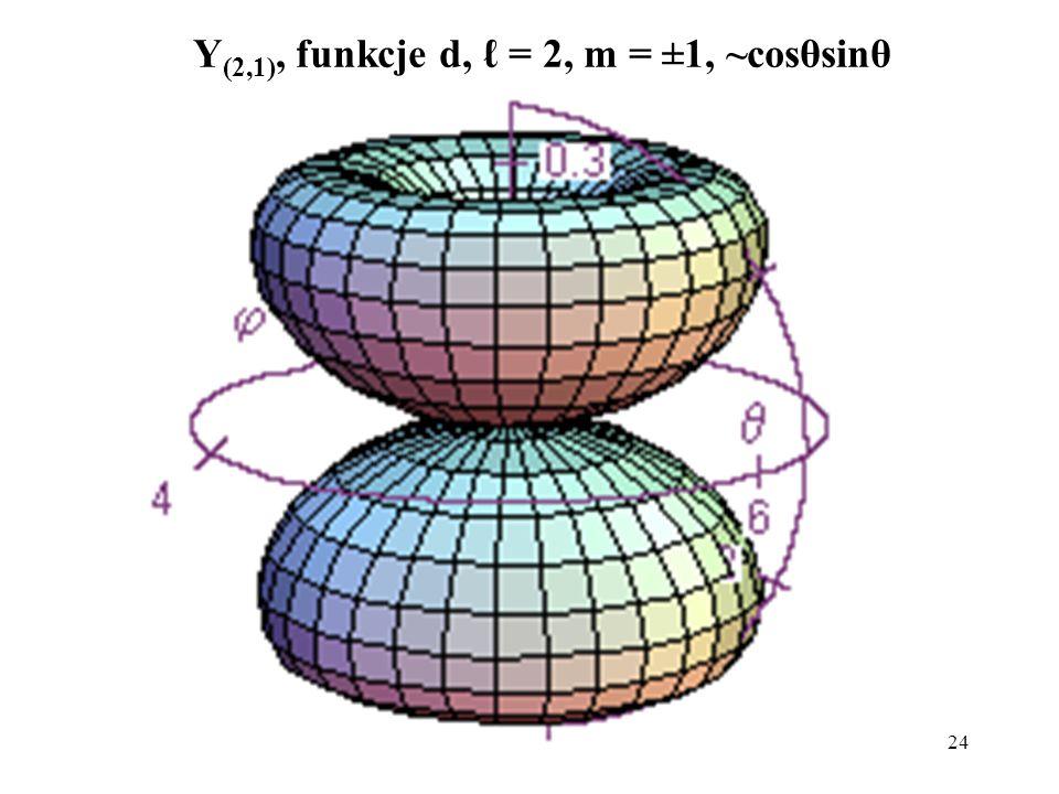 25 Y (2,2), funkcje d, = 2, m = ±2, ~sin 2 θ