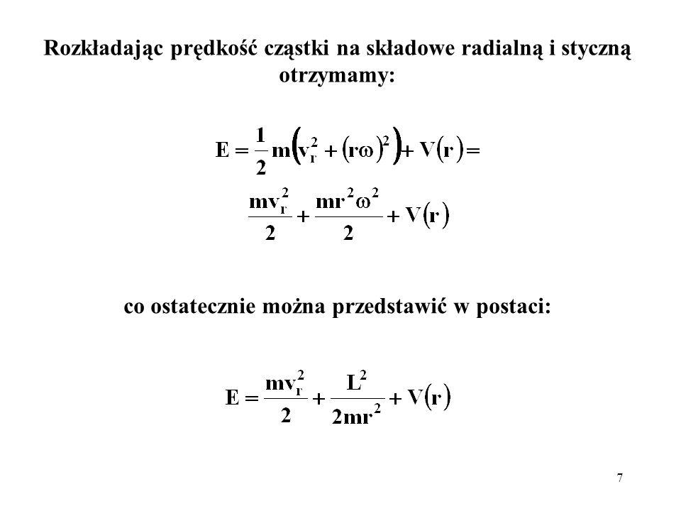 8 Porównując otrzymane wyrażenie z hamiltonianem: widzimy, że operator X jest operatorem kwadratu momentu pędu: jest wartością własną tego operatora, C = (+1), a funkcja Y to jego funkcja własna; a także element macierzowy obrotów R y (θ) i R z ( ) (wykład 7):