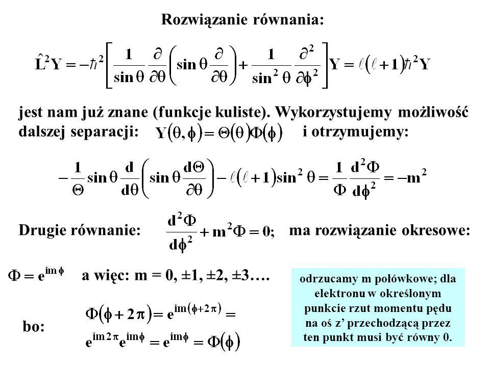 10 Interpretacja liczby kwantowej m co oznacza, że jest rzutem momentu pędu na oś z Udowodnimy, że: W tym celu liczymy: wykorzystując: Jeśli tak to: