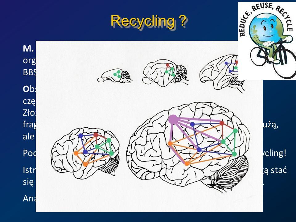 Recycling ? M. Anderson, Neural reuse: a fundamental organizational principle of the brain. BBS 33, 245–313 (2010) Obszary mózgu specjalizują się, ale