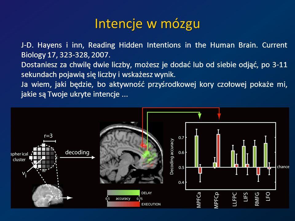 Intencje w mózgu J-D. Hayens i inn, Reading Hidden Intentions in the Human Brain. Current Biology 17, 323-328, 2007. Dostaniesz za chwilę dwie liczby,