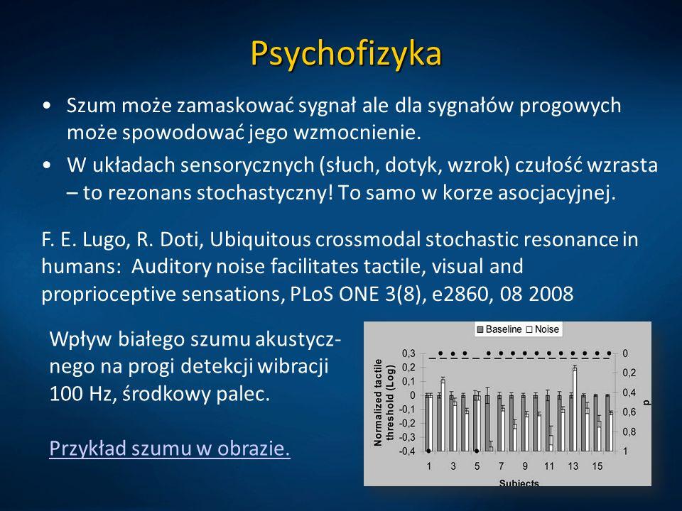 Psychofizyka Szum może zamaskować sygnał ale dla sygnałów progowych może spowodować jego wzmocnienie. W układach sensorycznych (słuch, dotyk, wzrok) c