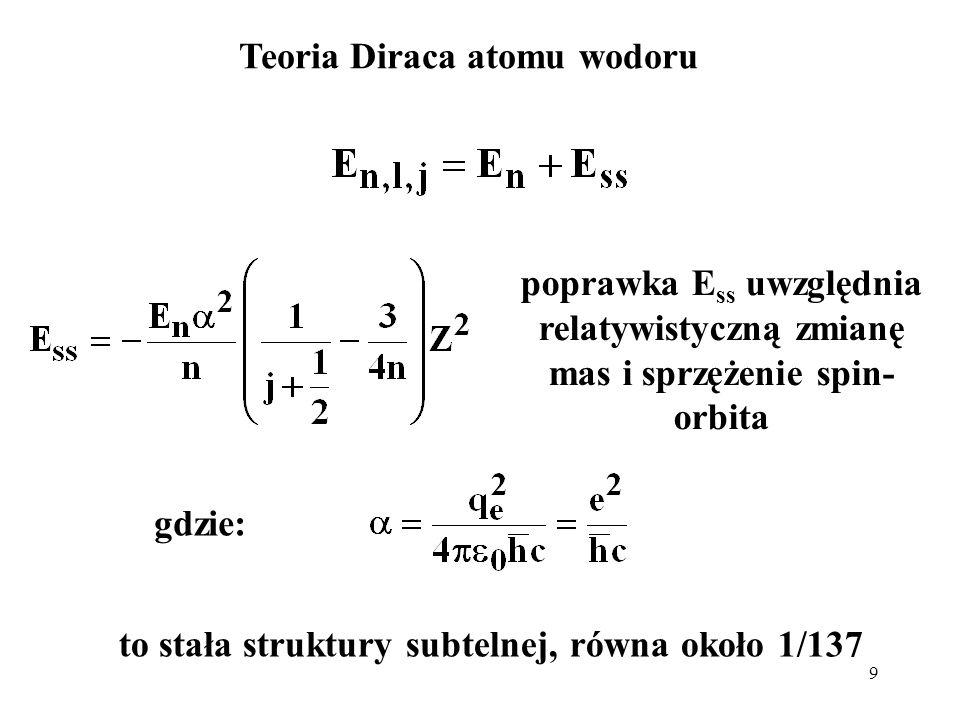 9 Teoria Diraca atomu wodoru gdzie: to stała struktury subtelnej, równa około 1/137 poprawka E ss uwzględnia relatywistyczną zmianę mas i sprzężenie s
