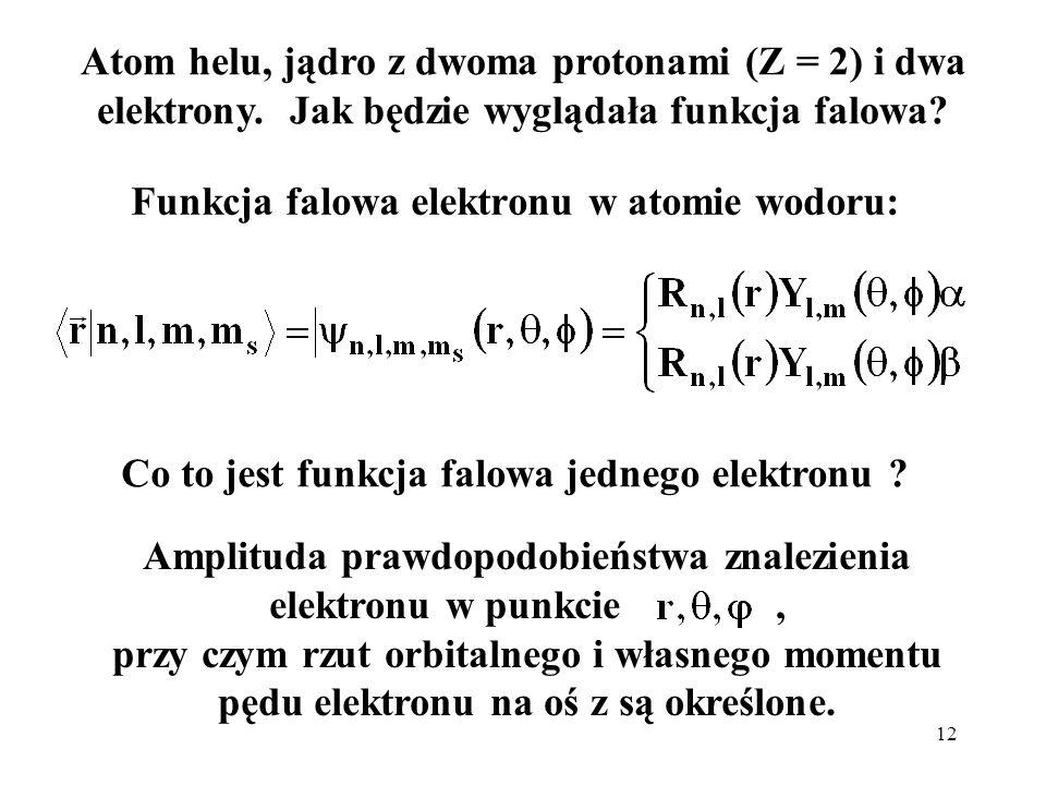 12 Funkcja falowa elektronu w atomie wodoru: Amplituda prawdopodobieństwa znalezienia elektronu w punkcie, przy czym rzut orbitalnego i własnego momen