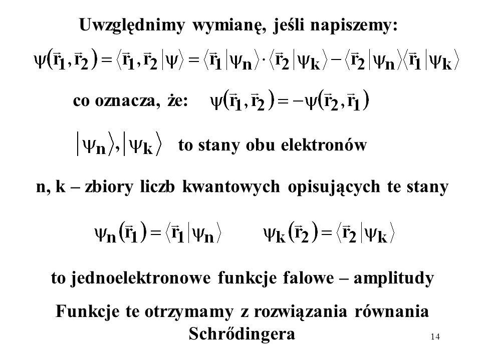 14 Uwzględnimy wymianę, jeśli napiszemy: to stany obu elektronów n, k – zbiory liczb kwantowych opisujących te stany to jednoelektronowe funkcje falow