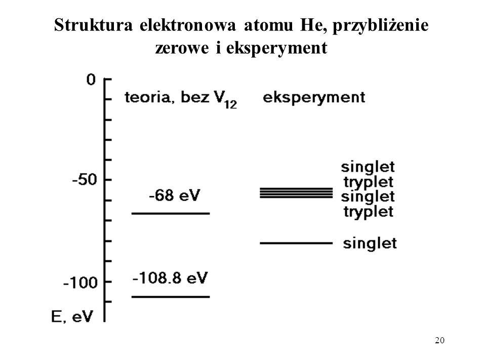 20 Struktura elektronowa atomu He, przybliżenie zerowe i eksperyment