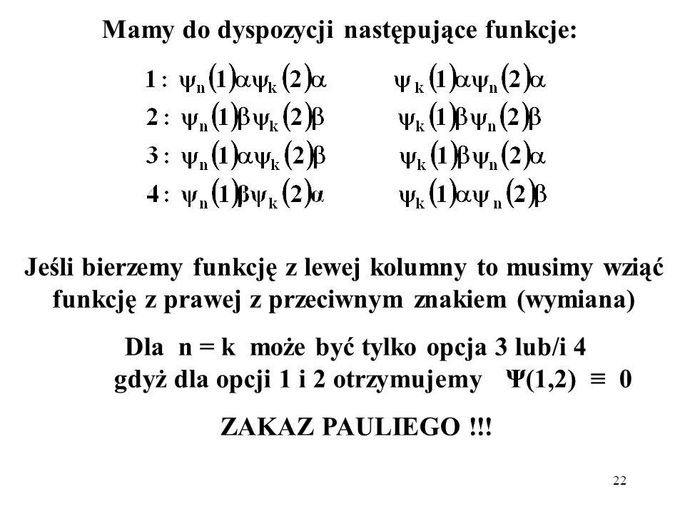 22 Mamy do dyspozycji następujące funkcje: Dla n = k może być tylko opcja 3 lub/i 4 gdyż dla opcji 1 i 2 otrzymujemy Ψ(1,2) 0 ZAKAZ PAULIEGO !!! Jeśli