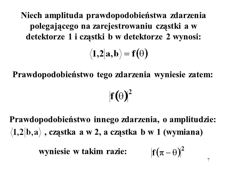 7 Niech amplituda prawdopodobieństwa zdarzenia polegającego na zarejestrowaniu cząstki a w detektorze 1 i cząstki b w detektorze 2 wynosi: Prawdopodob