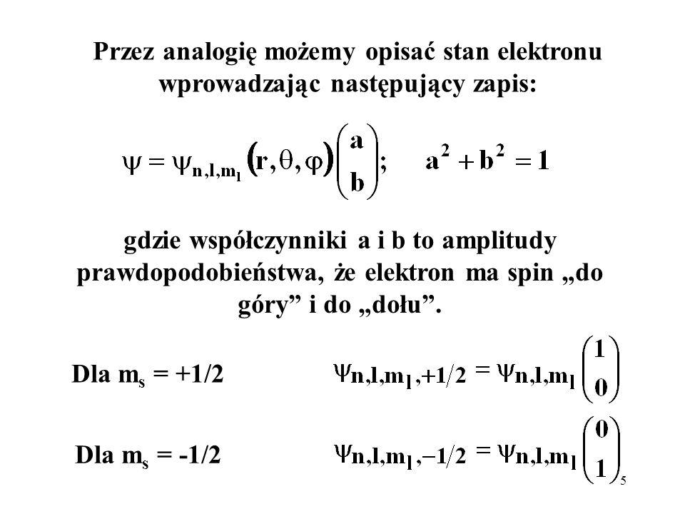 6 lub, przyjmując, że: imożemy zapisać: otrzymując pełną funkcję falową przedstawiającą amplitudę prawdopodobieństwa znalezienia elektronu w stanie |,m> i w punkcie r,θ, φ, ze spinem +1/2 lub – 1/2