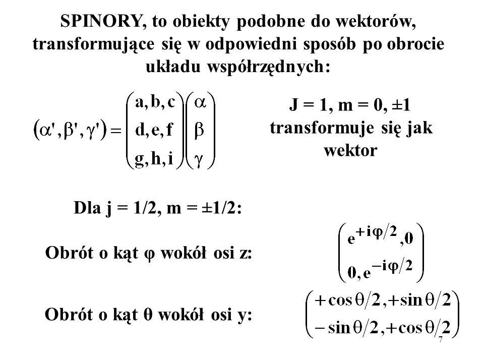 8 Składanie momentów pędu: współczynniki rozwinięcia: współczynniki Clebscha – Gordana jeden z kalkulatorów dostępnych na internecie: http://personal.ph.surrey.ac.uk/~phs3ps/cgjava.html