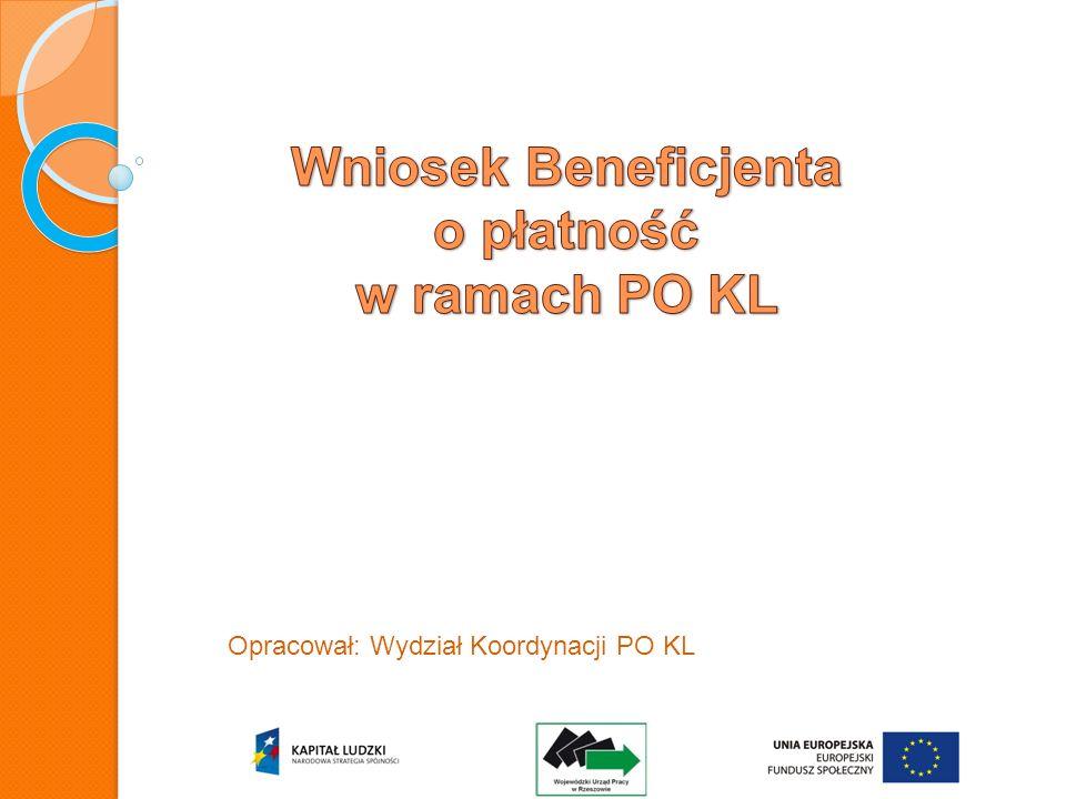 Monitorowanie i rozliczanie wydatków w ramach PO KL Rozliczanie projektu w ramach PO KL następuje za pomocą wniosku beneficjenta o płatność.