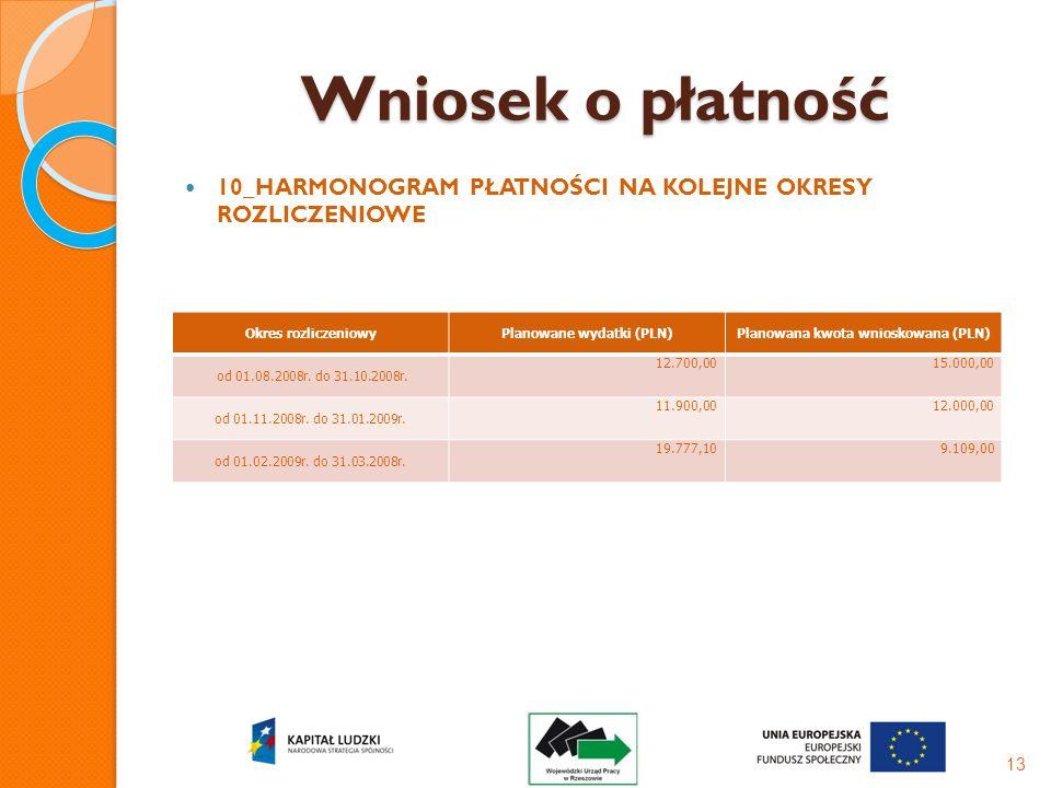 Wniosek o płatność 10_HARMONOGRAM PŁATNOŚCI NA KOLEJNE OKRESY ROZLICZENIOWE 13 Okres rozliczeniowyPlanowane wydatki (PLN)Planowana kwota wnioskowana (