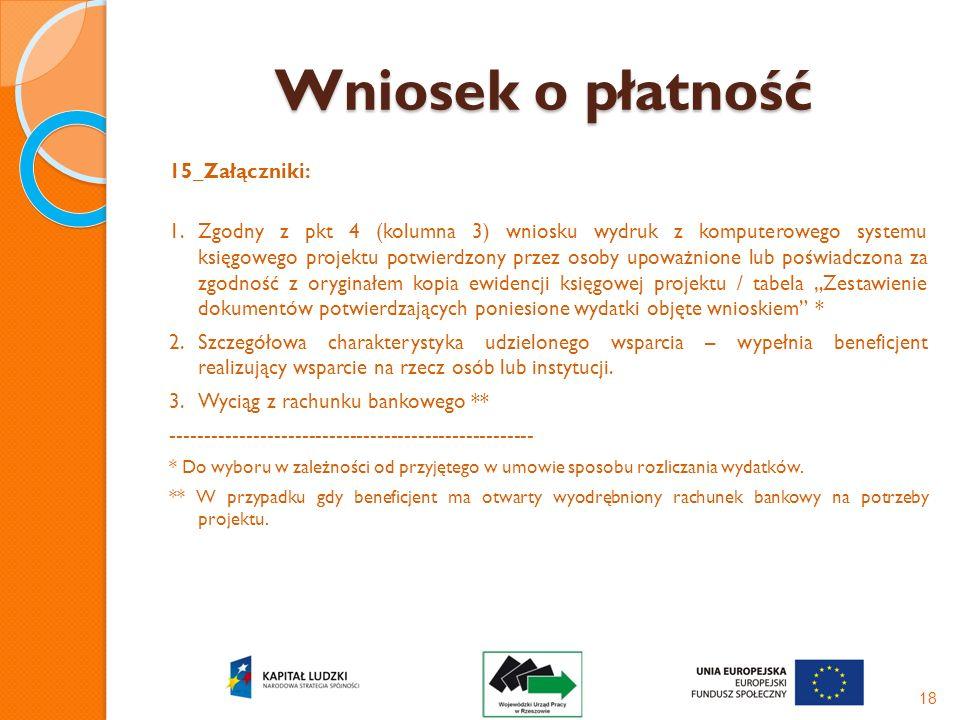 Wniosek o płatność 15_Załączniki: 1.Zgodny z pkt 4 (kolumna 3) wniosku wydruk z komputerowego systemu księgowego projektu potwierdzony przez osoby upo